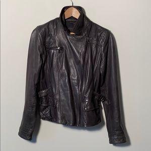 Banana Republic Leather Moto Jacket - Dark Grey